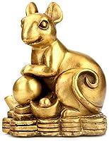 ガーディアン、風水インテリアは、家庭やオフィスのために富と幸運を誘致ジュエリー中国の黄道帯の彫像ピュア真鍮、ベスト新築祝い祝ギフト、猿、小、サイズ:L、カラー:犬 (Color : Rat, Size : Small)