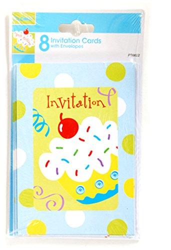 FLOMO 1902081 Birthday Boy Blue Cupcake Invitation Cards - 8 Count - Case of 36