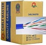 100 Ft Cat5e Bulk Bare Copper Ethernet Cable, UTP, Solid, Riser Rated (cm), 350MHz, 24AWG Blue
