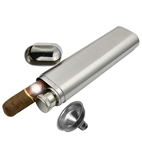 2 Ounce Stainless Steel Tubed Pocket Wine Whiskey Flask Tubes with Cigar Storage Case Tube Holder