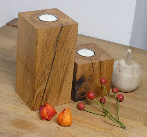 Teelichhalter Holz Eiche Massivholz Kerzenständer Teelicht Eichenholz 2er Set Herbstdeko (Metall)