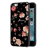 ZhuoFan Funda iPhone 6s, iPhone 6 Cárcasa Silicona Ultrafina Negra con Dibujos Diseño Suave TPU Antigolpes de Protector Piel Case Cover Fundas para Movil Apple iPhone6s / iPhone6, Las Flores