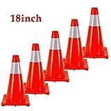 5 piezas 18' 45cm PVC Conos De Tráfico Por Carretera Cono De Seguridad De Estacionamiento Seguridad De Aislamiento Vial Señal De Advertencia Reflectante Roja Conos De Seguridad Vial