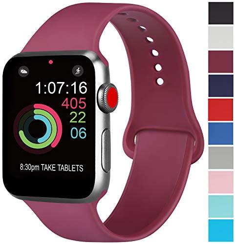 AK Cinturino Compatibile per Apple Watch Cinturino 44mm 42mm 38mm 40mm, Cinturino Sport in Silicone Cinturino Uomo e Donna per iWatch Serie 5 4 3 2 1 (02 Wine Red, 42/44mm S/M)