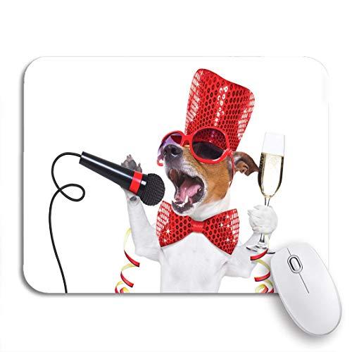 Gaming mouse pad jack russell hund feiert silvester champagner glas rutschfeste gummi backing computer mousepad für notebooks maus matten