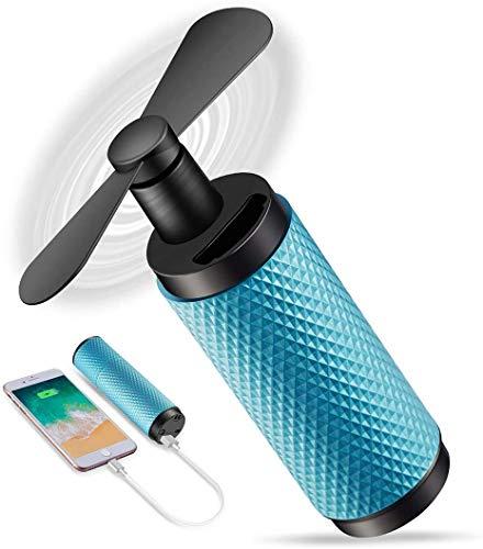 Fljen-CC Hand Held Fans,USB Small Fan,2200mAh Rechargeable Battery,8-12h Work Time, Travel/Shopping/Football Cooling Fan,Matte Black-Matte Blue Lake Blue
