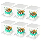 CODOHI 6 Packs Clear Plastic Birthday Cake Carrier Bakery Packaging Boxes Transparent Baking Cookie Display Pack Box Carry Tall Layer Gift Toy Box 6.7'x6.7'x8.5' - White