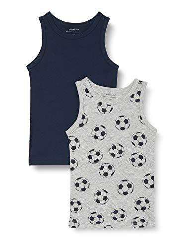 NAME IT Jungen Nmmtank Top 2p Mel Football Noos Unterhemd, Grey Melange, 92
