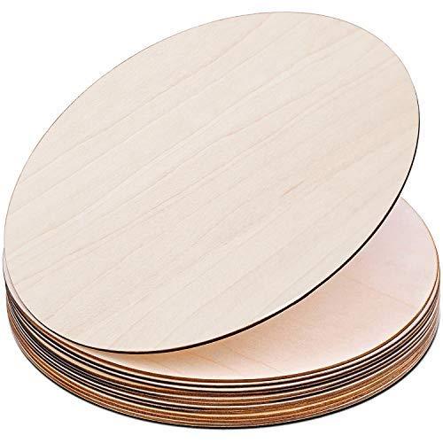 Recortes de círculos de madera sin terminar de 30,48 cm, rebanadas de madera redondas en blanco para manualidades, pintura, colgador de puerta y decoración de pared..