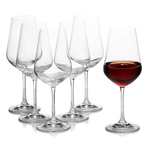 Crystalex Bohemia Sandra - Juego de 6 copas de vino (445 ml),...