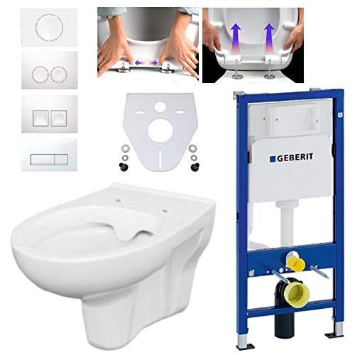 Geberit Duofix Vorwandelement mit Bernado WC spülrandlos mit Beschichtung, Komplett-Set Delta50 chrom