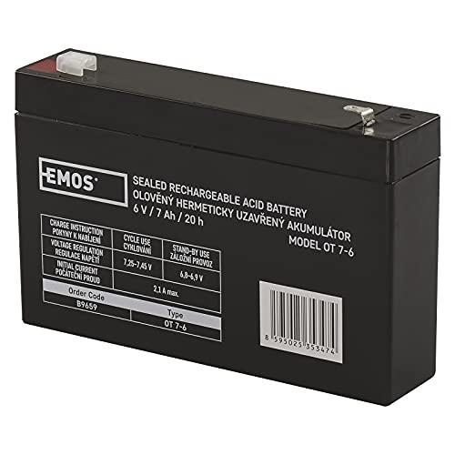 EMOS B9659 Wartungsfreier Bleiakku/Bleiakkumulator für Alarmsysteme, Brandmeldetechnik, Kinderfahrzeuge, USV-Geräte, 6V, 7 Ah, 6 V