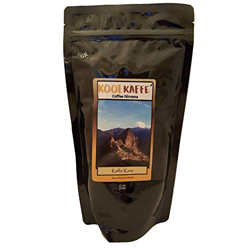 Kool Kaffe Coffee Nirvana - Kafe Kona Whole Bean Coffee, Kona Blend Medium Roast Best Tasting Special Hawaiian Blend