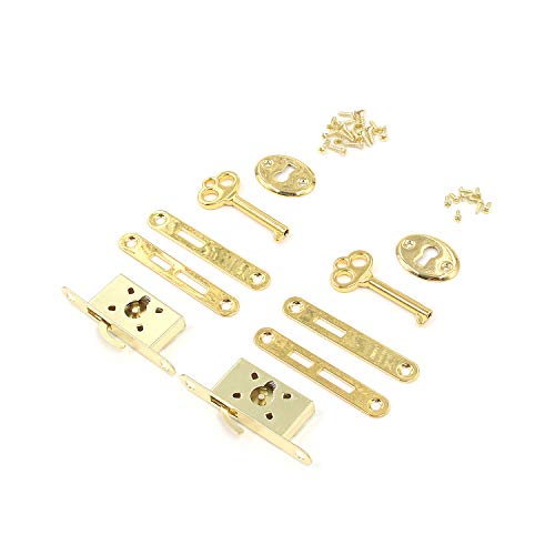 """Box Lock Karcy Small Jewelry Box Lock Gold Plated Half Mortise 2.2x0.75"""" Gold Iron Pack of 2"""