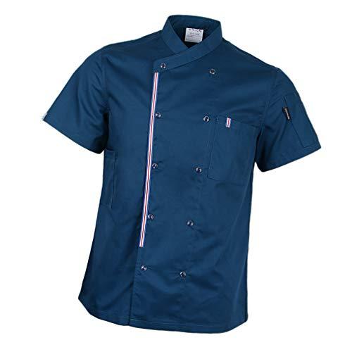 P Prettyia Atmunngsaktiv Kochjakce Bäckerjacke mit Druckknöpfe Kochbekleidung Arbeitskleidung Berufsbekleidung Arbeitsjacke für Gastronomie - Blau, L