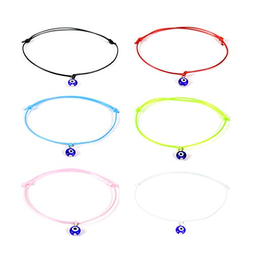 HUNO 6Pcs/Set Evil Eye Ankle Bracelet Lucky Amulet Blue Eye Waterproof String Anklets for Women Girls Kabbalah Protection Jewelry B