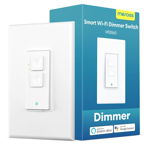 Smart Dimmer Switch Single Pole - meross Smart WiFi Light Switch for Dimmable LED, Compatible with Alexa Google Assistant and SmartThings, Neutral Wire Required, Remote Control Schedule,1 Pack