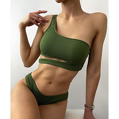 SHENSHI Bikinis Mujer,Conjunto De Bikini De Un Hombro, Traje De Baño Acanalado, Bikini Sexy Recortado, Trajes De Baño Verde Militar, Ropa De Playa De Verano, Verde Militar, Pequeño
