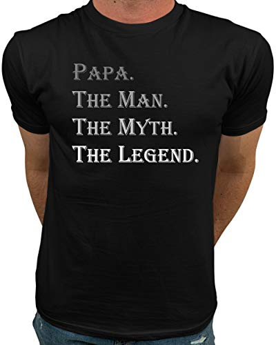Market Trendz Papa The Man The Myth The Legend Tshirt Grandpa Dad Gifts Gray on Black X-Large