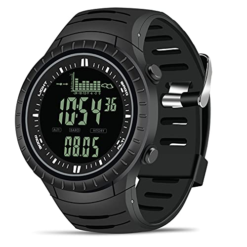 CakCity Mens Digital Watch Waterproof Military Sports Tactical Fishing Wrist Watches for Men with Weather Altimeter Barometer Thermometer, Black