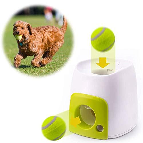 HZHHH Interactivo Juguetes para Perros, Perro de Juguete automática Alimentadores Bola Lanzador, interactiva Pelota de Tenis Lanzar Máquina para Perros