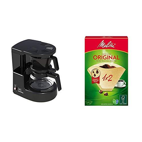 Melitta Cafetera de filtro con jarra de vidrio, Para 2 tazas de café, Aromaboy, Negro, 1015-02 + 502001 Filtros de Café Desechables, Papel, Natural