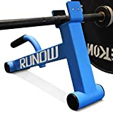 RUNOW Barbell Jack,Mini Deadlift Bar Jack with Rubber Handle,Stand is Easy to Load and Unload Weight Plates for Fitness Exercise (Blue)
