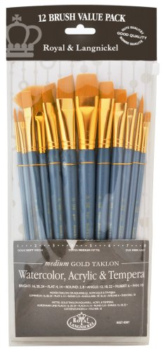 Royal & Langnickel RSET-9307 - Medium Gold Taklon 12-teiliges Pinsel Set gemischt
