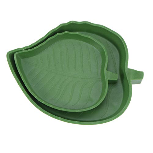 TEHAUX 2Pcs Reptile Food Water Bowl Plate Dish Leaf for Pet Aquarium Ornament Terrarium Dish Plate Lizards Tortoises Small Reptiles
