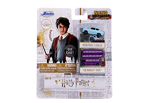 Jada - 31719 - Harry Potter 2 Mini Modelos Coche 1959 Ford Anglia y Knight Bus Nano Hollywood Rides Die Cast - Multicolor - 4cm