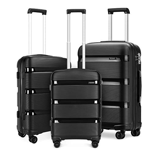 Kono Luggage Set of 3 Lightweight Suitcase Travel Hand Luggage PP Material Suitcase with 4 Spinner Wheels and TSA Lock(Black, 3 Piece Set(20' Cabin + 24' + 28'))