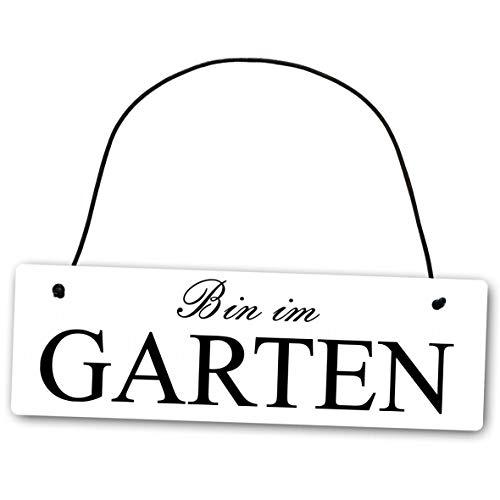Homeyourself Metallschild Bin im Garten 25 x 8 cm aus Alu Verbund (Alu, Kunststoff) für In- und Outdoor Deko Schild Dekoschild Wandschild außen und Innen
