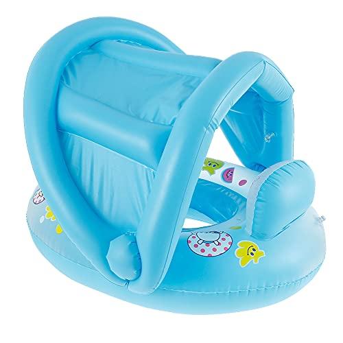 N/S Entrenador de natación para bebés con toldo desmontable, ayuda de natación con protección solar, flotador para bebés, asiento para niños pequeños, inflable, piscina circular, juguete (azul)