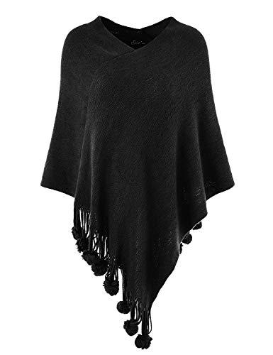 Ferand Damen Gemütlicher Warmer Poncho Pullover mit Mehrweg-Ausschnitt und Süßen Bommeln, One Size, Schwarz