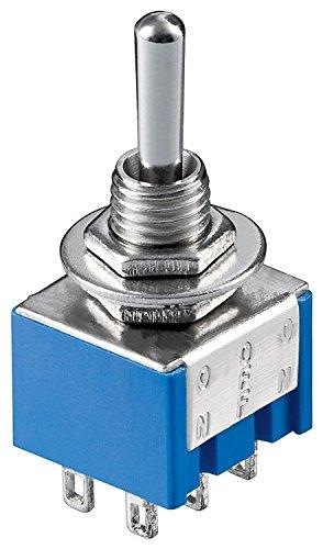 MANAX Interruptor basculante en miniatura, 6 pines, carcasa azul, 10 unidades