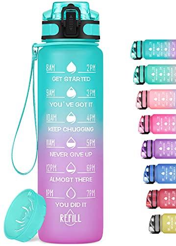 MEITAGIE 32oz Motivational Water Bottle with Time Marker & Fruit...