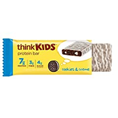 Every bite of this cookies & crème kids protein bar is packed with cocoa crisps, white creme drops and a creme coating. 7 grams protein: a convenient and delicious snack when you need a little fuel to help fight hunger between meals and satisfy snack...