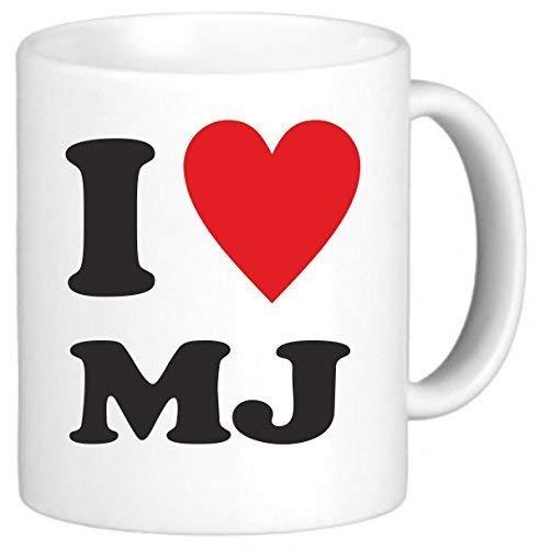 Mattanch Ich Liebe Herz MJ Michael Jackson Neuheit-Kaffeetasse-Tee-Schale 11 Unze