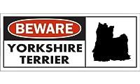 BEWARE YORKSHIRE TERRIER ワイドマグネットサイン:ヨークシャーテリア(フルコート) Sサイズ