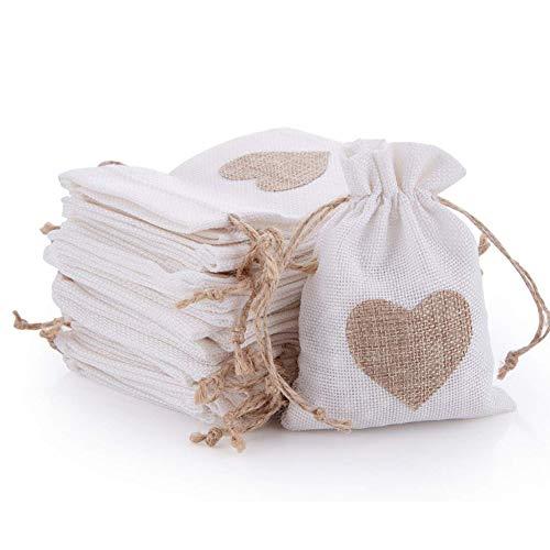 Fablcrew 30Pcs Sachets en Toile de Jute Pochettes avec Cordon et Motif de Coeur pour Dragée Bijoux Cadeau Mariage Baptême Anniversaire Noël 10 * 14CM