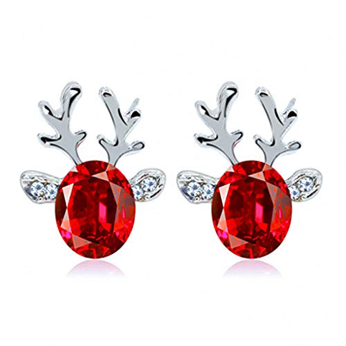 Hffan Rentier Elch Kristall Ohrringe Weihnachtsohrringe Einfach Elegant Ohrstecker Ohrringe Schmuck Niedlich Karikatur Weihnachten(Silber,One size)