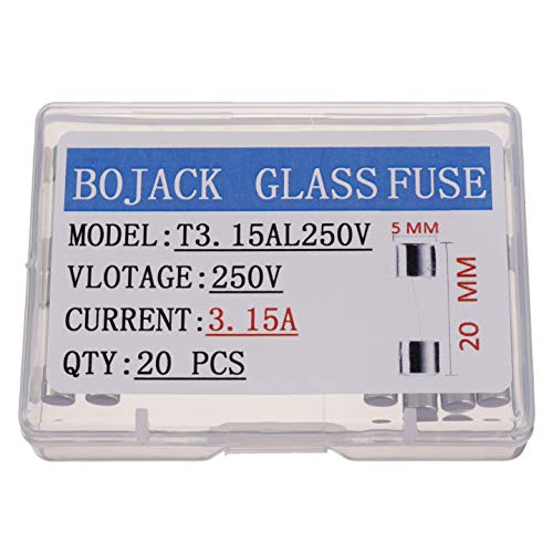 BOJACK T3.15AL250V 5x20mm 3.15A 250V Slow Blow Fuses 3.15 amp 250 Volt 0.2 x 0.78 Inch Glass Tube Time-delay Fuses(Pack of 20 Pcs)