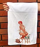 FlonzGift Hand Towel Hilda Crying from Onion Chubby Redhead Pinup Sexy Girl Hilda by Duane Bryers Microfibre Towel 12'x25'