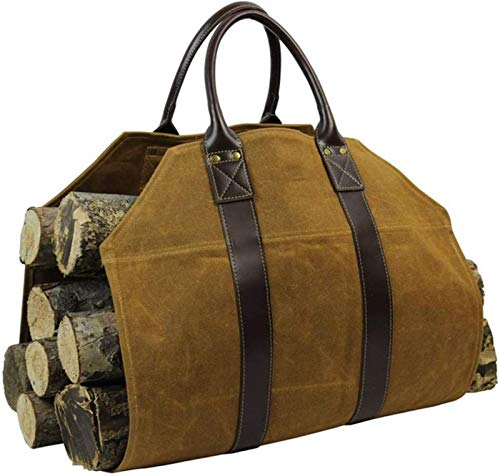 Firewood Log Carrier, Heavy Duty Canvas Log Carrier Tote with Leather...