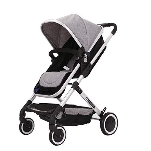 TANKKWEQ Cochecito plegable Cochecito liviano de uso dual de doble uso en el cochecito de alto paisaje plegable, portátil para bebés que amortigua la rueda de amortiguación al todo terreno jogging cam