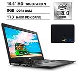 Dell Inspiron 15 Laptop, 15.6' HD Touchscreen, 10th Gen Intel Core i3-1005G1 Processor up to 3.40GHz, 8GB DDR4 RAM, 1TB Hard Disk Drive, HDMI, Wireless-AC, Windows 10, Black, KKE Mousepad