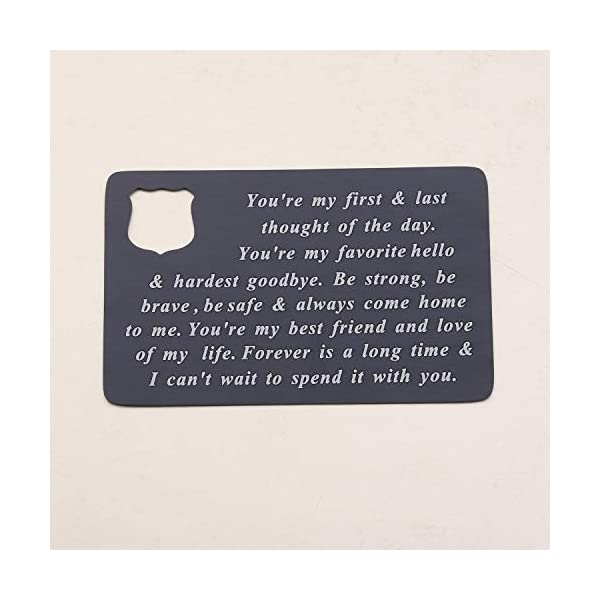 BEKECH Police Jewelry Police Officer Wallet Card Husband Gift You're My First and Last Thought of The Day Be Strong Be Brave Be Safe Wallet Insert Gift from Police Wife