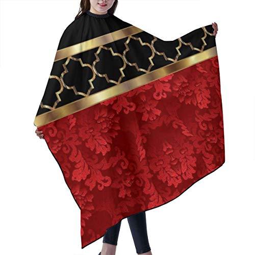 KIMIOE Cape étanche pour Salon de Coiffure Professionnel,Barber cloak,Elegant Red Black & Gold Pattern Salon Hair Cutting Gown Barber Cape Cloth