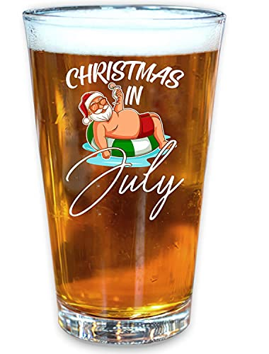 Christmas In July Summer Vacation Beer Pint Glass, 16 oz. Drinking Glass