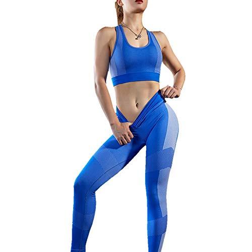 WWLIN Traje de Yoga sin Costuras 2 Piezas Top de Yoga Deportivo Leggings sin Costuras Ropa Deportiva Gimnasio Ropa de Fitness Chándal Entrenamiento sin Costuras Conjunto de Yoga